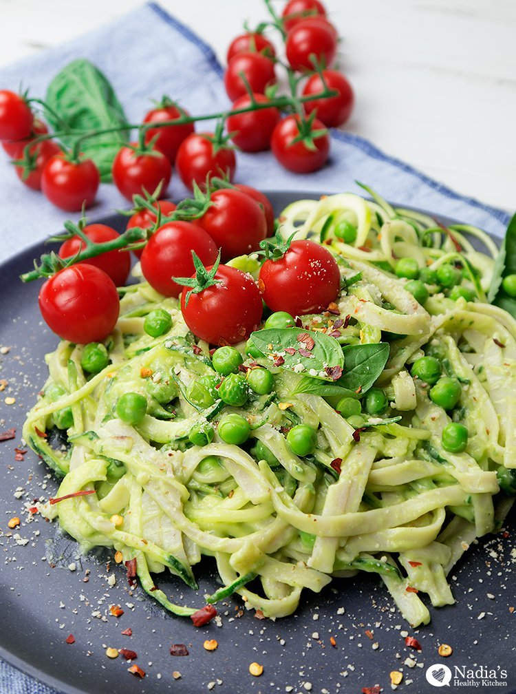 avocado courgette spaghetti by Nadia's Healthy Kitchen
