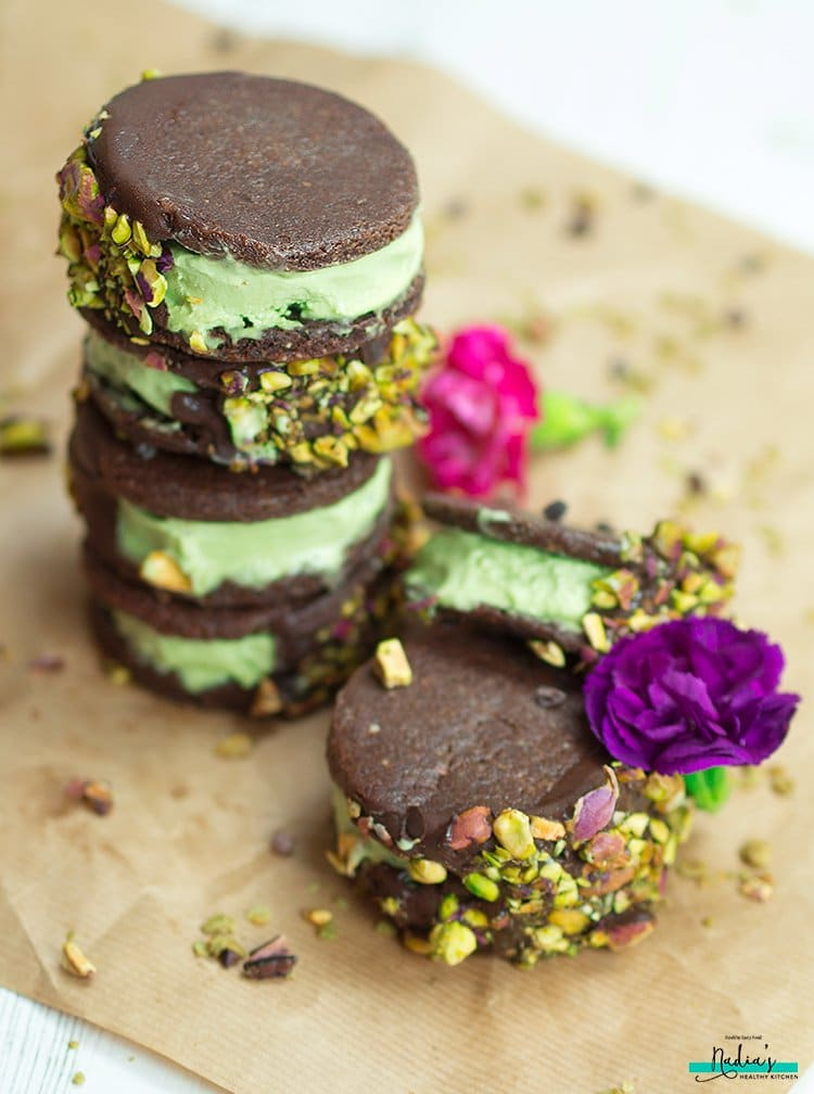 chocolate matcha ice cream sandwiches by Nadia's Healthy Kitchen