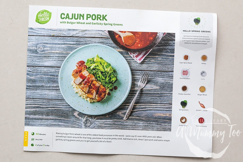 Cajun pork with bulgur wheat and garlicky spring greens recipe card