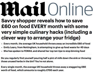 Daily Mail: Ten tips to stop binning half you food shop
