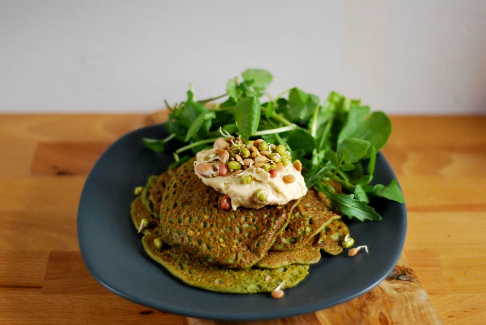 spinach and wheatgrass crepes by rough measures
