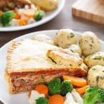 Layered vegetable pie with basil infused pastry