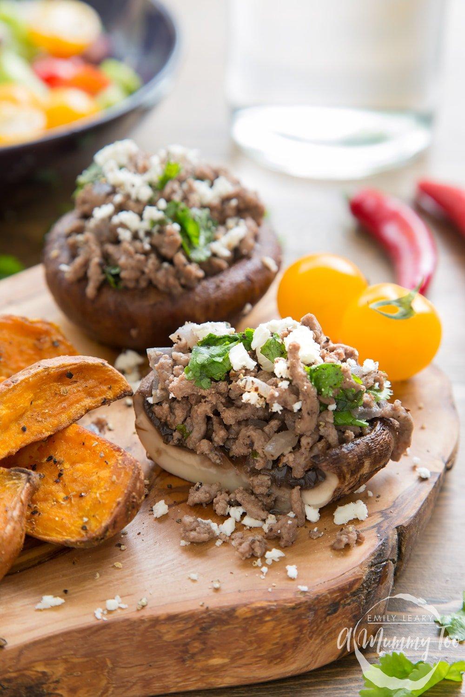 Serve these tasty Irish beef stuffed portobello mushrooms sprinkled with feta