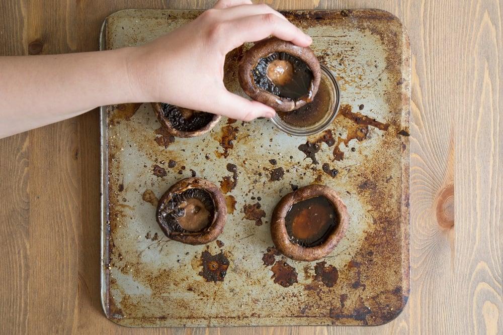 Freshly baked portobello mushrooms