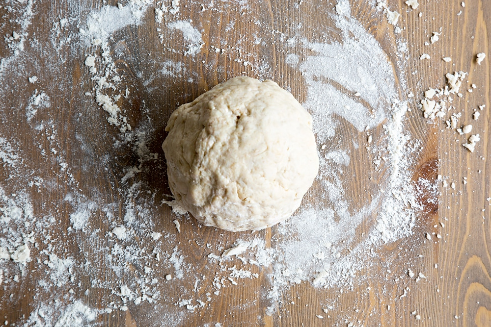 Tortilla mix rolled into a ball, taking care not to overwork the dough