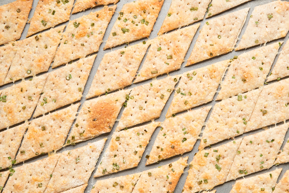Freshly baked gruyère and chive crackers