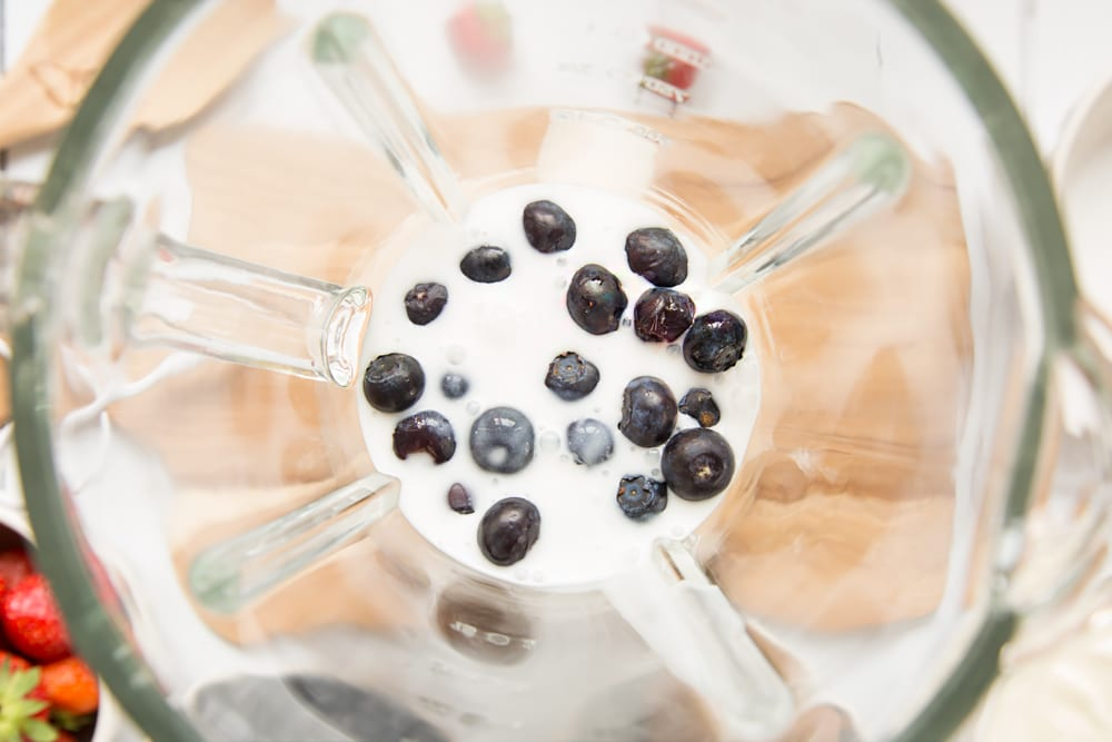 Mix the blueberries and yogurt until they are 'crushed'