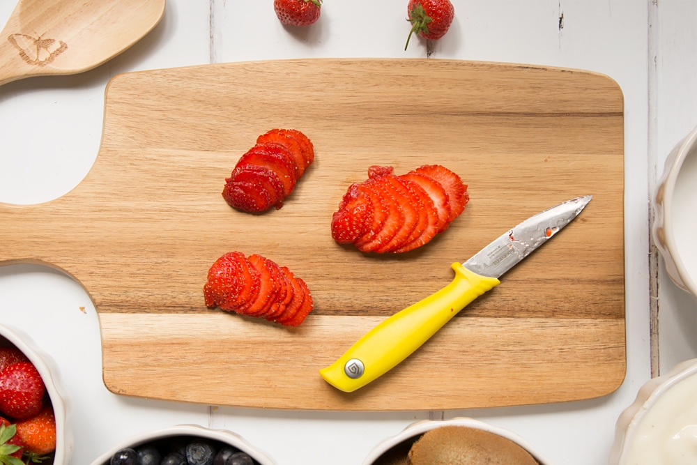 Thinly slice your strawberries
