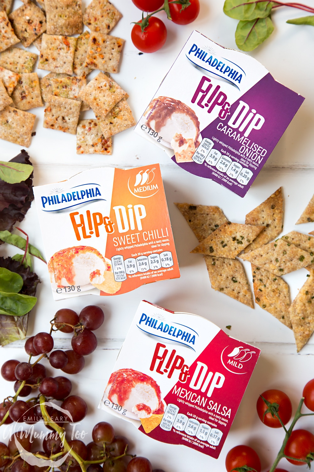 These lime and chilli crackers and gruyère and chive crackers go so well with Philadelphia Flip & Dip dips including carmelised onion, sweet chilli and mexican salsa