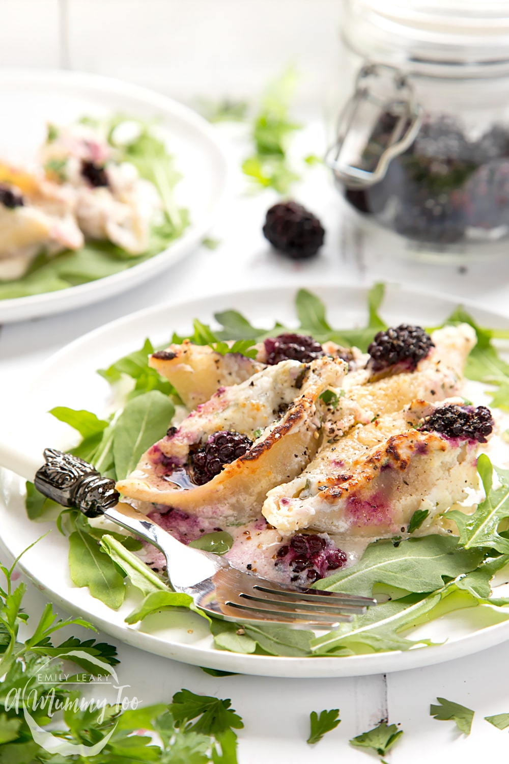 These giant pasta shells are stuffed with a ricotta and blackberry mix for a deliciously different pasta dish!