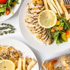 Herby baked chicken with baked parsnip fries