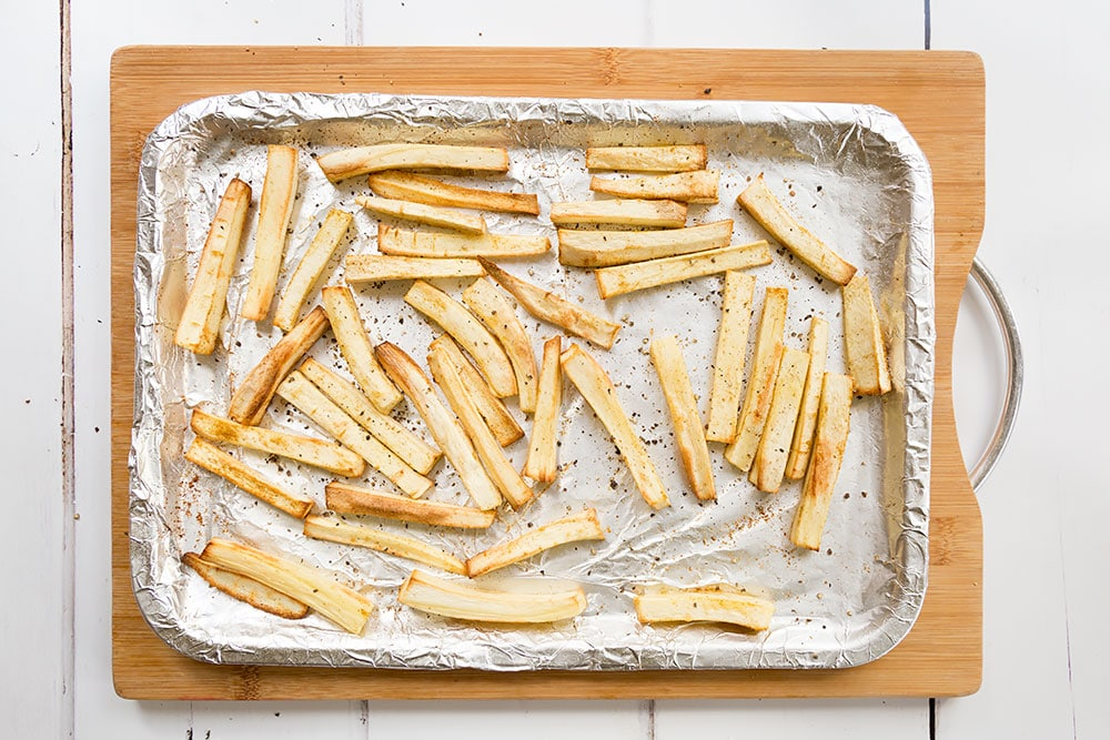 Freshly roasted parsnip fries