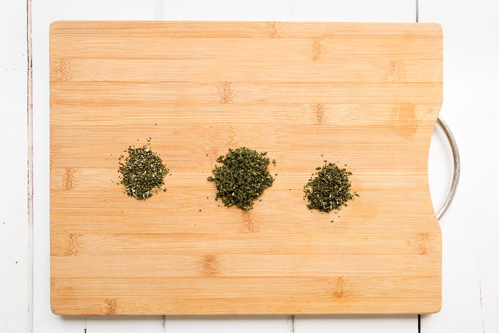 Finely diced herbs to create the crunchy herb topping