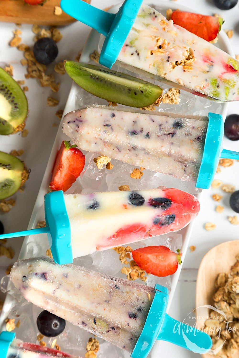 These delicious fruit and yogurt frozen lollies are the perfect, healthy treat for a Summer's day - enjoy them at a picnic or at your next BBQ!