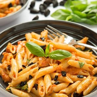 Penne alla black garlic vodka