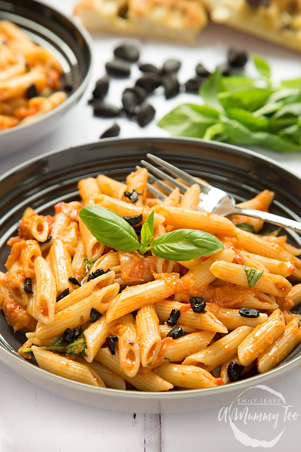 Penne alla black garlic vodka, topped with slivers of black garlic and served ready to enjoy!