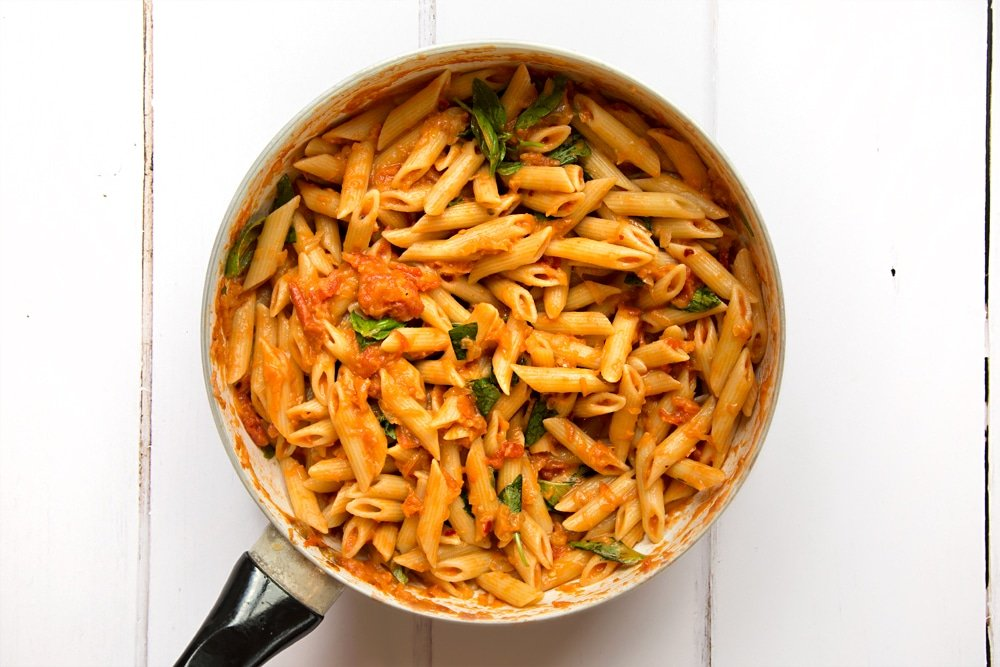 Tasty and tangy penne alla black garlic vodka