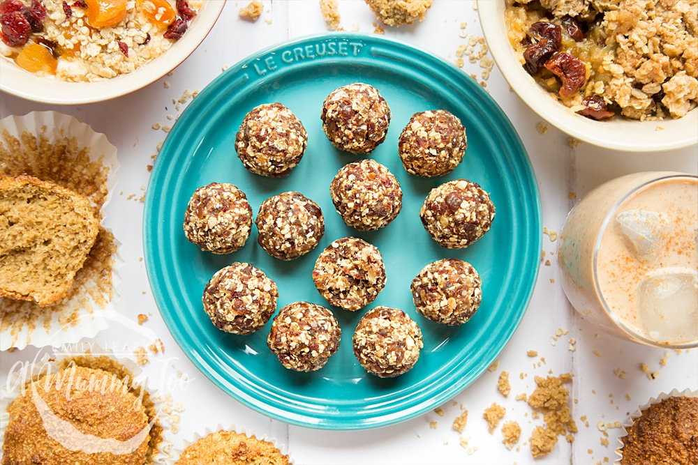 Serve these date granola energy balls with a smoothie for the perfect energy giving combination