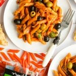 Red lentil penne alla puttanesca (gluten-free, vegan, quick to make)