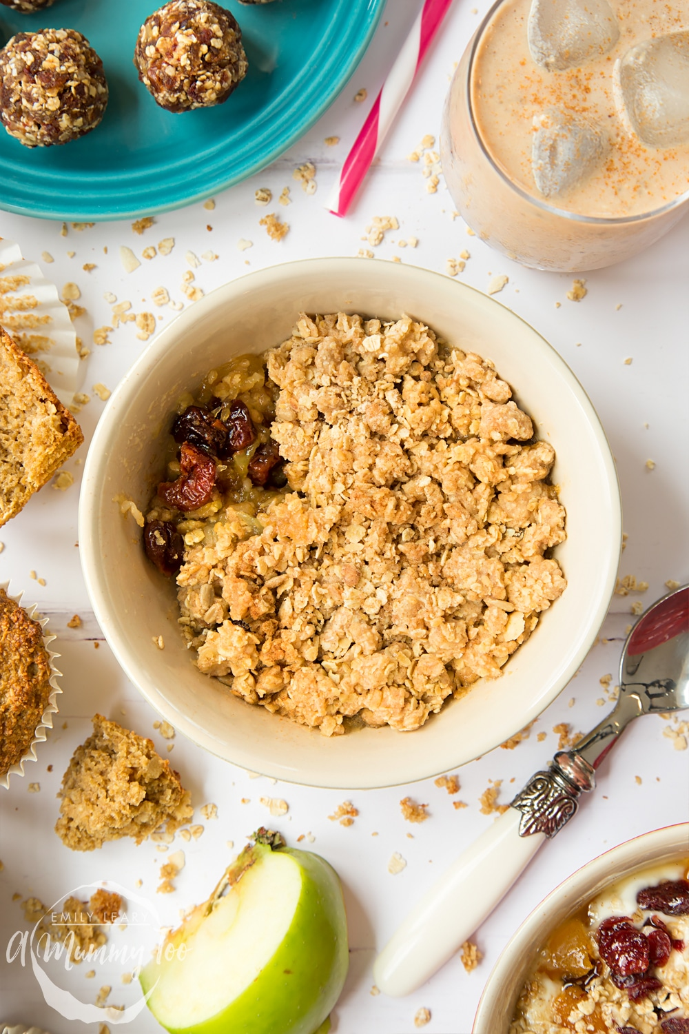 A delicious apple cherry granola crumble, shown alongside date and granola energy balls, spiced granola smoothie and breakfast bran muffins