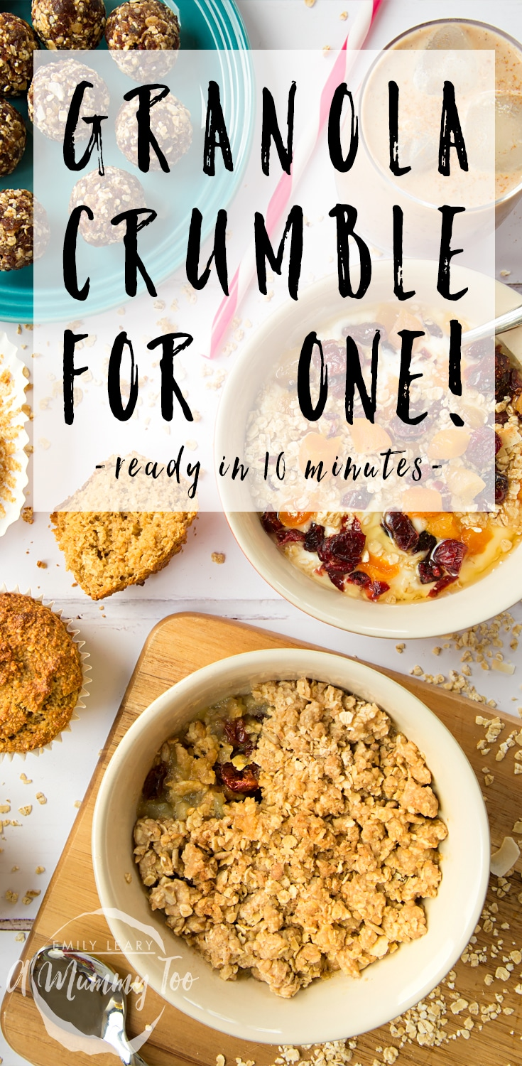 This apple cherry granola crumble is super quick and easy to prepare in only 10 minutes! It makes a great treat for one. Find this recipe and more granola treat ideas at amummytoo.co.uk #desserts #granola #recipe