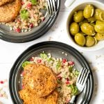 Spiced pork medallions with pomegranate jewelled cauliflower 'couscous'