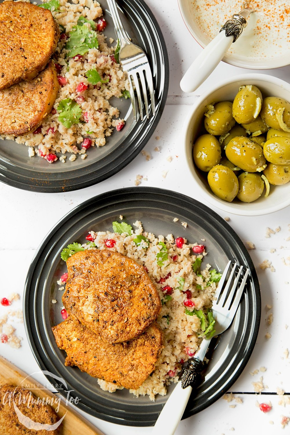 These spiced pork medallions with pomegranate jewelled cauliflower 'couscous' are a deliciously healthy way to enjoy pork, with a creative 'couscous' side