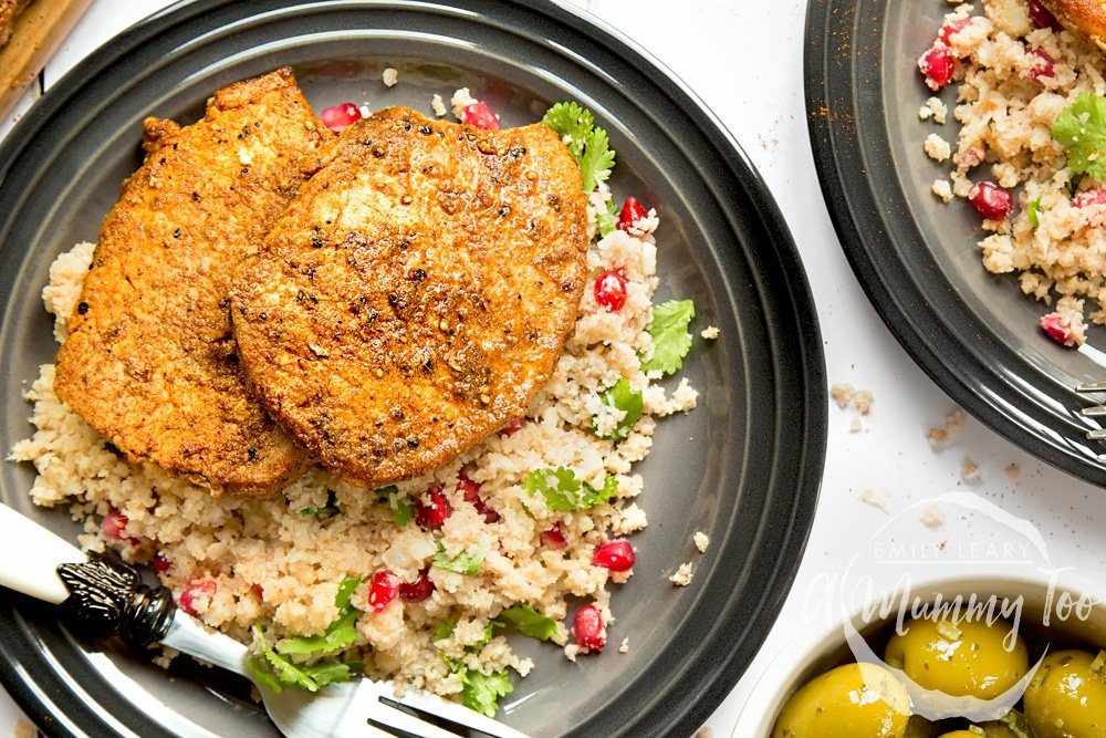 Spiced pork medallions served with pomegranate jewelled cauliflower 'couscous'