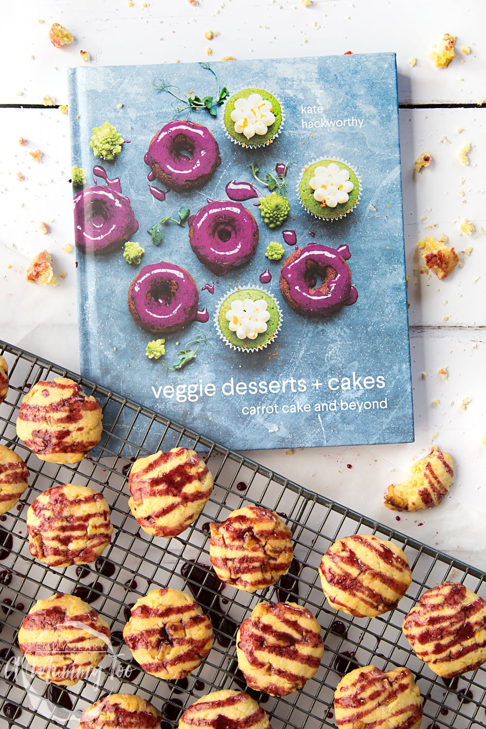 This sweetcorn and white chocolate cookies with blackberry glaze recipe features in Kate Hackworthy's veggie desserts + cakes book