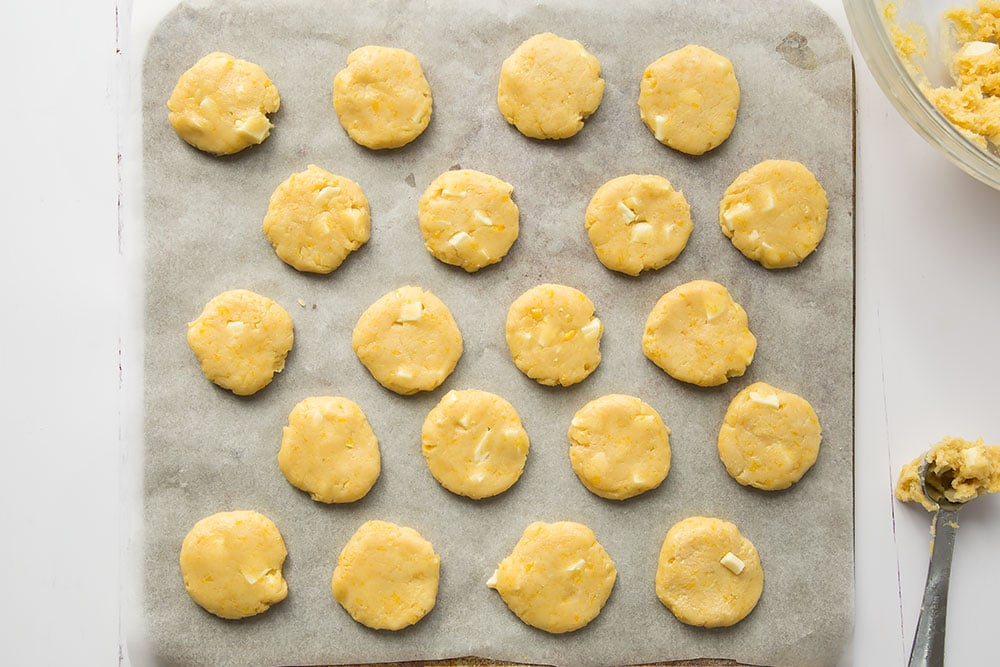 Preparing to bake the tasty mini sweetcorn and white chocolate cookies