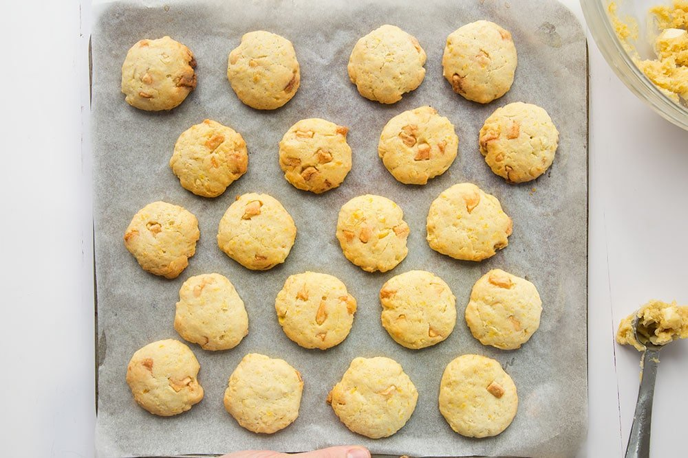 Freshly baked, golden sweetcorn and white chocolate cookies