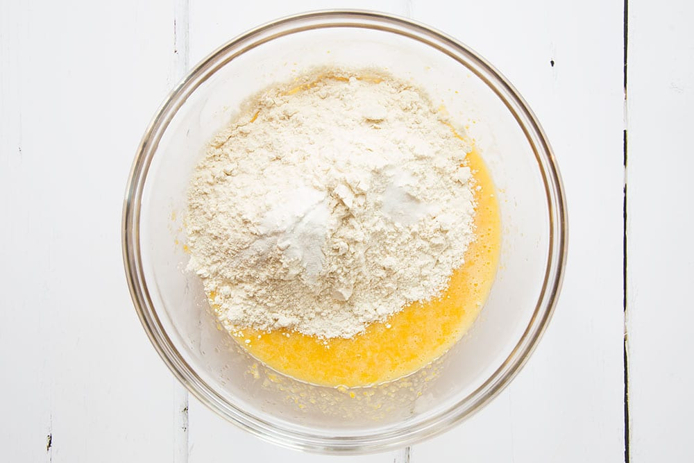 Flour, baking salt and other ingredients are added to create the sweetcorn cookie batter
