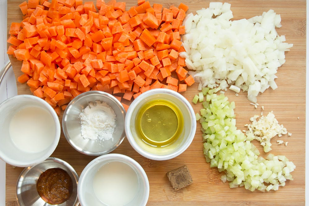 Prepped ingredients ready to make the fragrant Thai carrot and coconut soup