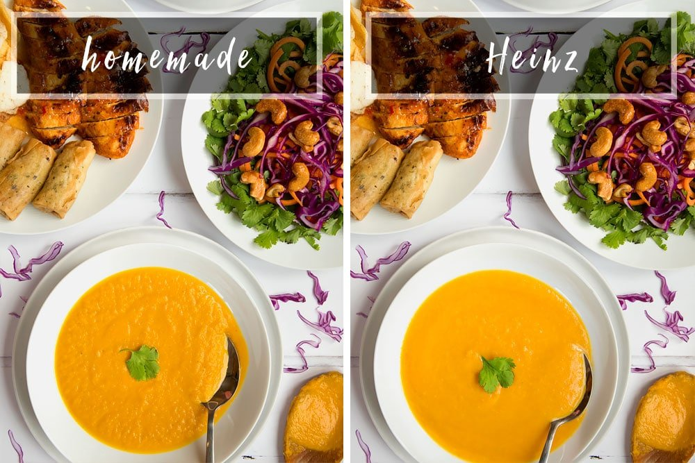 A side by side comparison of the homemade and Heinz Thai soups