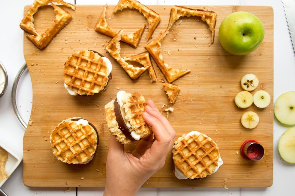 The finished waffle apple burgers!