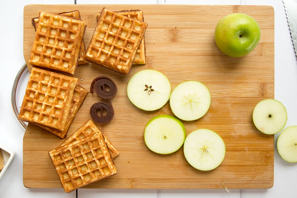 Sliced apple creates the 'burger' of these waffle apple burgers