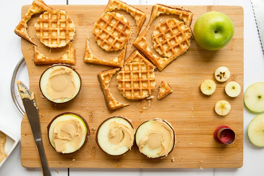 Cutting out waffles for the top burger 'bun'