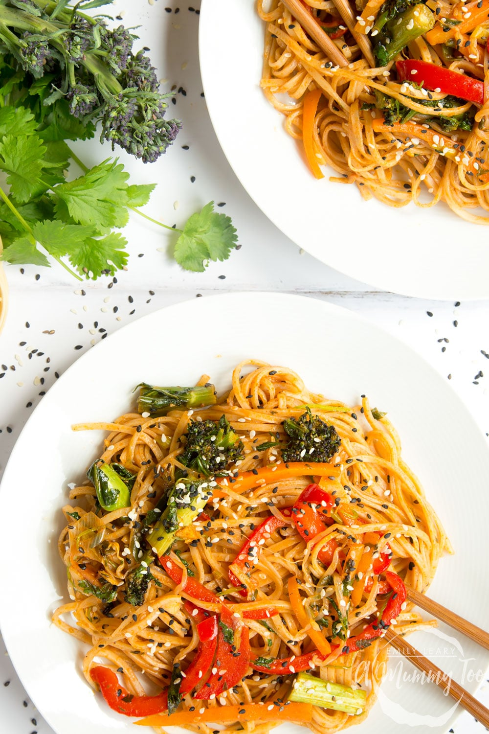 Delicious, tangy sweet and sour ketchup noodle stir fry shown served in bowls on a table ready to enjoy!