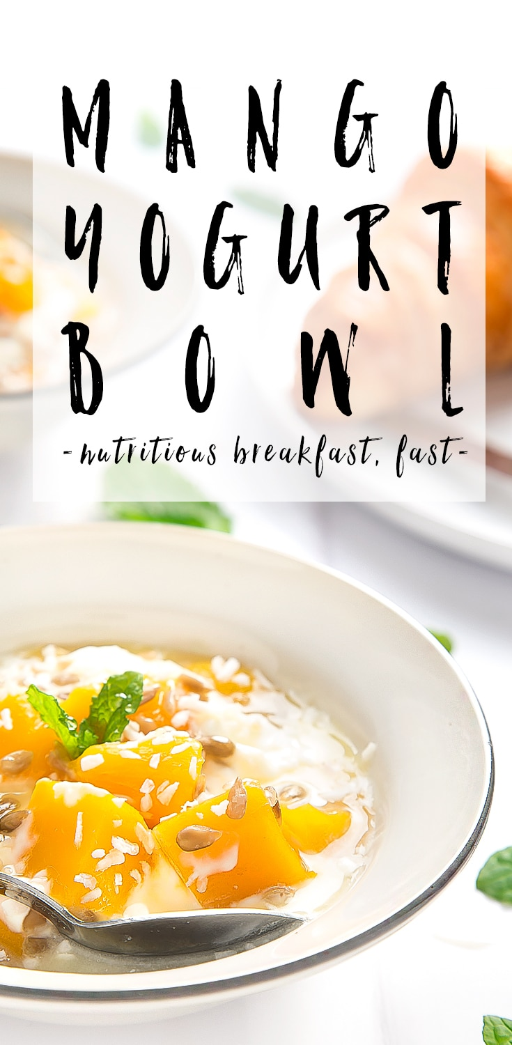 These yogurt and mango breakfast bowls are a quick, easy and nutritious breakfast for the family. Find the recipe and more inspiration for using fruit in your family breakfast at amummytoo.co.uk #recipe #breakfast