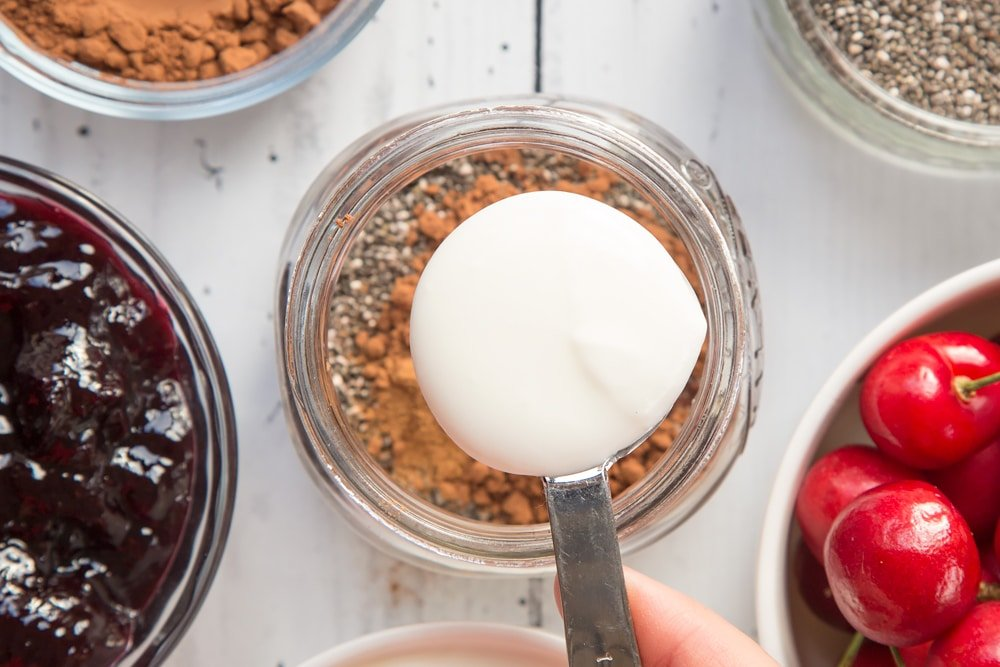 Yogurt is added to the mixture to make this black forest breakfast jar