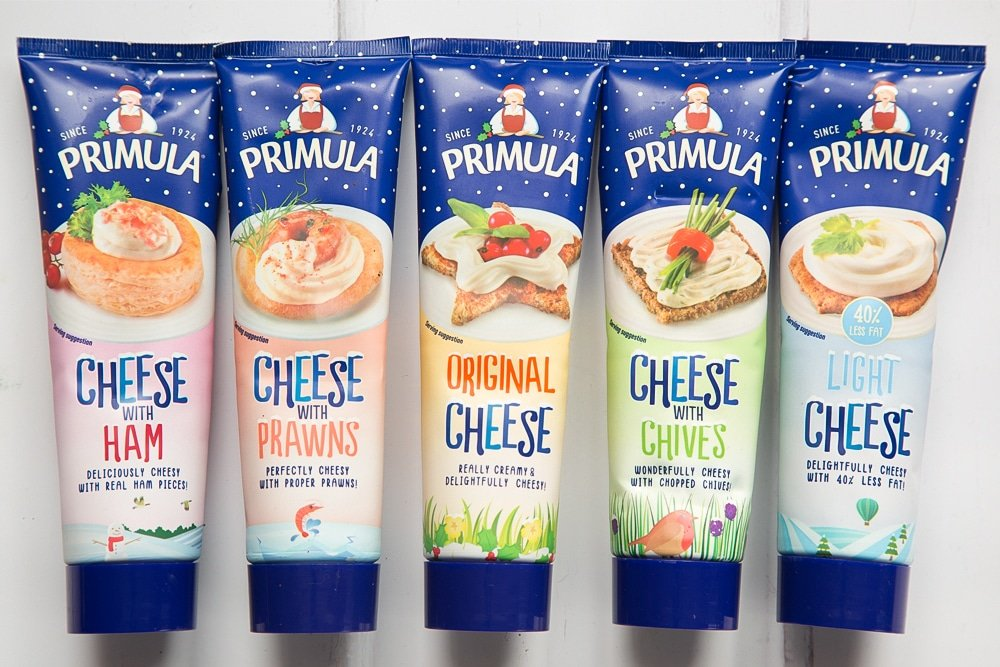 A selection of Primula cheese in festive packaging