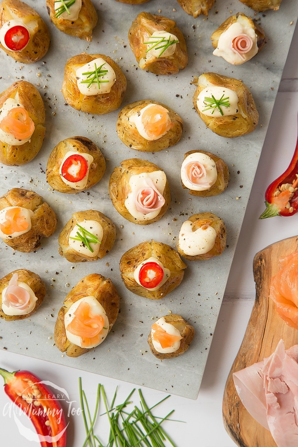 Delicious stuffed mini baked potatoes, ready to serve at a party or on Christmas Eve as a starter