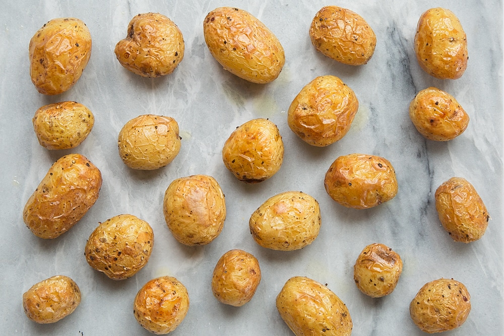 Mini baked potatoes, fresh from the oven