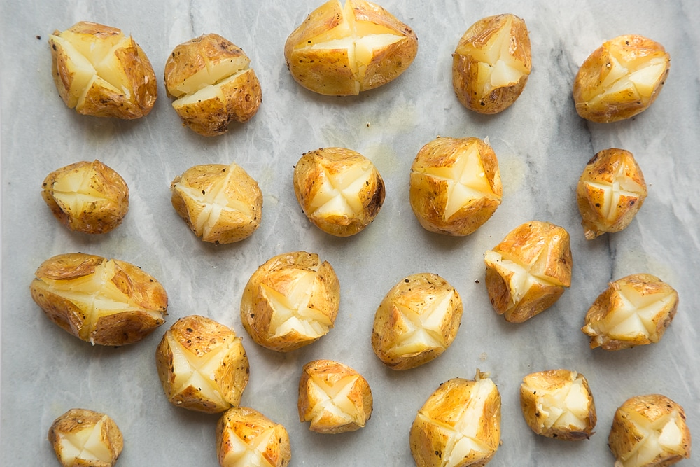 Cut a cross into the mini baked potatoes so you can add the Primula filling
