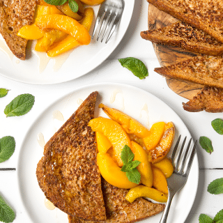 Cinnamon French toast with warm peaches