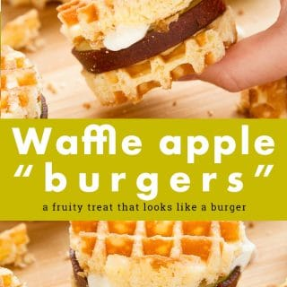 These waffle apple burgers make for a wonderfully fun gluten free dessert! Made with Schar waffles, sliced apple, fruit leather, peanut butter and Greek yogurt #recipe #glutenfree #dessert