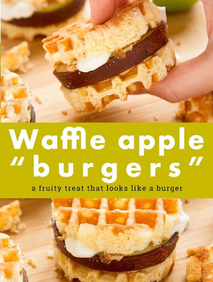 These waffle apple burgers make for a wonderfully fun gluten free dessert! Made with Schar waffles, sliced apple, fruit leather, peanut butter and Greek yogurt #recipe #glutenfree #dessert