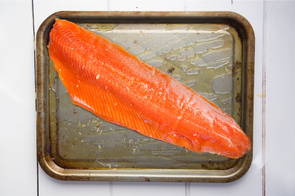 Preparing the Alaska salmon fillet