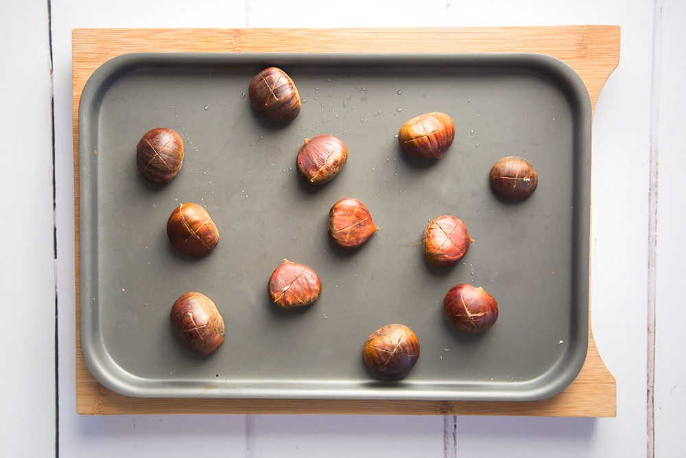 Chestnuts baked in the oven