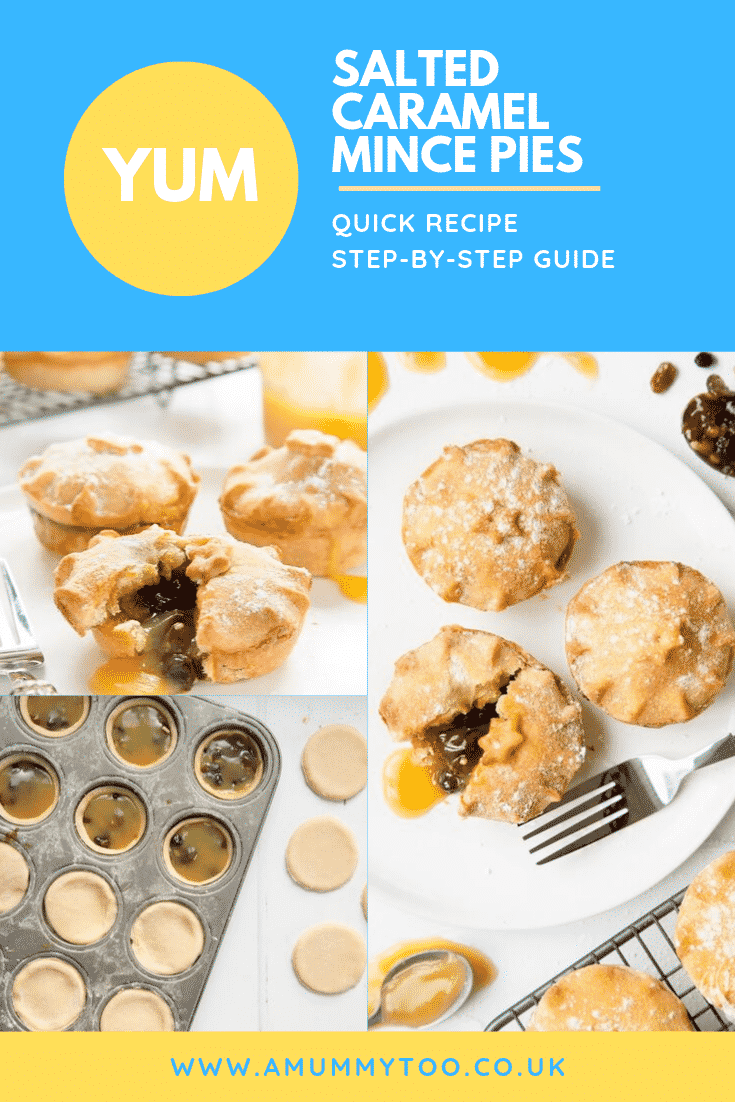 Three process images of the mince pies being made at the top of the image there's some text describing the image for Pinterest.